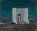 Fine Art - Painting, American, Gertrude Abercrombie (American, 1908-1977). Untitled (Woman in acrumbling cell), 1949. Oil on Masonite. 11-1/2 x 13-3/8...