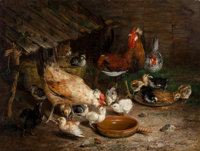Ignace Spiridon (Italian, 19th Century) Feeding Time, 1869 Oil on canvas 30 x 39-1/2 inches (76.2