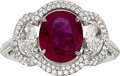 Estate Jewelry:Rings, Burma Ruby, Diamond, White Gold Ring, French. ...