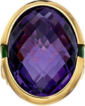 Estate Jewelry:Rings, Amethyst, Chrome Diopside, Gold Ring, Frank Ancona. ...