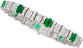 Estate Jewelry:Bracelets, Emerald, Diamond, Platinum Bracelet . ...