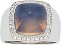 Estate Jewelry:Rings, Moonstone, Diamond, White Gold Ring, Fred, French. ...