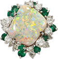 Estate Jewelry:Rings, Opal, Diamond, Emerald, White Gold Ring. ...