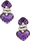 Estate Jewelry:Earrings, Amethyst, Diamond, White Gold Earrings. ...