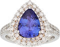 Estate Jewelry:Rings, Tanzanite, Colored Diamond, Diamond, White Gold Ring . ...