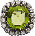 Estate Jewelry:Rings, Peridot, Diamond, Silver-Topped Gold Ring. ...