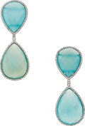 Estate Jewelry:Earrings, Chalcedony, Diamond, White Gold Earrings The e...