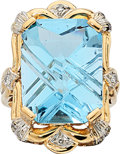 Estate Jewelry:Rings, Blue Topaz, Diamond, Gold Ring . ...