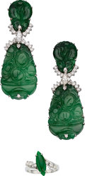 Estate Jewelry:Suites, Jadeite Jade, Diamond, White Gold Jewelry . ... (Total: 2 Items)