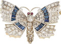Estate Jewelry:Brooches - Pins, Diamond, Sapphire, Ruby, Platinum-Topped Gold Brooch. ...