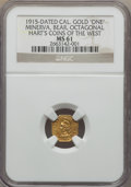 Western Souvenir Gold, 1915-Dated MS California Minerva One, Octagonal, MS61 NGC. CMOD-2, R.7. Die State 1.. From the MEHartGold.com Reference...