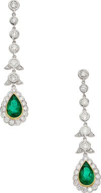 Colombian Emerald, Diamond, White Gold Earrings, Craig Drake
