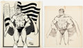 Original Comic Art:Illustrations, Dan Adkins and H. Kansas - Superman Fanzine Illustration Page 15Original Art Group of 2 (c. 1970-80s).... (Total: 2 Original Art)