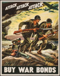 "Movie Posters:War, World War II Propaganda (U.S. Government Printing Office, 1942).Poster (22"" X 28""). ""Attack, Attack, Attack."" War.. ..."