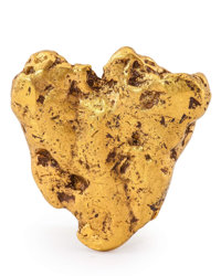 Gold Nugget Alaska 1.39 x 1.31 x 0.27 inches (3.53 x 3.32 x 0.69 cm)
