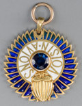 Jewelry:Necklaces, A French 18K Gold and Sapphire Pendant for Avions Voisin Automobile Company, circa 1921. 1-1/2 inches diameter (3.8 cm). P...