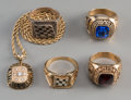 Estate Jewelry:Rings, Four 18K, 14K, 10K Gold, and Silvered Automobilia Rings with 14KGold Necklace. Marks: (various). 18 inches long (45.7 cm) (...(Total: 5 Items)