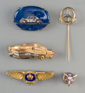 Estate Jewelry:Lots, Five 18K, 10K, Vari-Gold and Mixed Media Automobilia and AviationPins. 2-1/8 inches long (5.4 cm) (longest, Mercedes pin). ...(Total: 5 Items)