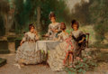 Fine Art - Painting, American, Edward Percy Moran (American, 1862-1935). Four Sisters. Oilon canvas. 14 x 20 inches (35.6 x 50.8 cm). Signed lower rig...