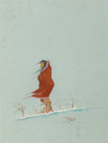Fine Art - Painting, American:Contemporary   (1950 to present)  , Jerome Richard Tiger (American, 1941-1967). Figure in Snow,1965. Gouache on board. 9-3/8 x 8 inches (23.8 x 20.3 cm). S...