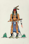 Fine Art - Work on Paper, Acee Blue Eagle (American, 1909-1959). Native AmericanWarrior. Gouache on paper. 11-3/8 x 7-1/2 inches (28.9 x 19.1cm)...