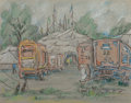 Fine Art - Work on Paper:Drawing, Reynolds Beal (American, 1867-1951). Circus Wagons. Pastelon paper. 9 x 11-1/4 inches (22.9 x 28.6 cm) (sight). Signed ...