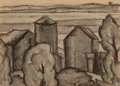 Works on Paper, Oscar Florianus Bluemner (American, 1867-1938). Sketch for Low Lands. Charcoal on paper. 5 x 6-3/4 inches (12.7 x 17.1 c...