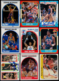 Basketball Cards:Lots, 1980-89 Multi-Brand Basketball Card Collection (9) With 1986 FleerSticker Jordan & Seven Signed Cards....