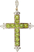 Estate Jewelry:Pendants and Lockets, Peridot, Diamond, Silver-Topped Gold Pendant . ...