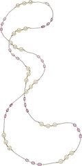 Estate Jewelry:Necklaces, Pink Sapphire, Cultured Pearl, White Gold Necklace . ...