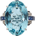 Estate Jewelry:Rings, Aquamarine, Sapphire, Diamond, Platinum Ring . ...
