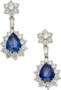 Estate Jewelry:Earrings, Sapphire, Diamond, Platinum Earrings, Jacques Timey for HarryWinston. ...