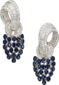 Estate Jewelry:Earrings, Diamond, Sapphire, Platinum Earrings . ...