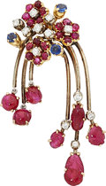 Estate Jewelry:Brooches - Pins, Ruby, Diamond, Sapphire, Gold Pendant-Brooch. ...