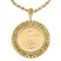 Estate Jewelry:Necklaces, Gold Coin, Peridot, Gold Pendant-Necklace . ...