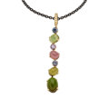 Estate Jewelry:Pendants and Lockets, Tourmaline, Diamond, Gold, Stainless Steel Pendant-Necklace. ...