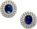 Estate Jewelry:Earrings, Sapphire, Diamond, Platinum Earrings, David Webb. ... (Total: 2 Items)