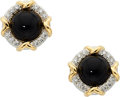 Estate Jewelry:Earrings, Black Onyx, Diamond, Platinum, Gold Earrings, Tiffany & Co. . ...