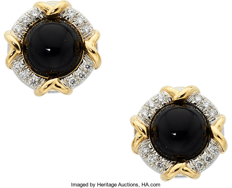 Estate Jewelry Earrings Black Onyx Diamond Platinum Gold Tiffany