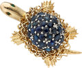 Estate Jewelry:Brooches - Pins, Sapphire, Emerald, Gold Brooch. ...