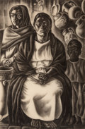 Fine Art - Work on Paper:Print, Howard Norton Cook (American, 1901-1980). Mexican Interior,1933. Etching. 16 x 10-5/8 inches (40.6 x 27.0 cm) (plate). ...