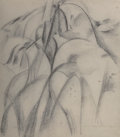 Fine Art - Work on Paper:Drawing, William Zorach (American, 1887-1966). Half Dome YosemiteValley, 1920. Charcoal, graphite, and wash on paper. 17-5/8 x1...