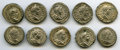 Ancients:Ancient Lots  , Ancients: ROMAN EMPIRE: Caracalla (AD 198-217), lot of ten (10) ARdenarii. Nearly XF - AU.... (Total: 10 coins)