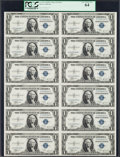 Small Size:Silver Certificates, Fr. 1611 $1 1935B Silver Certificates. Uncut Sheet of Twelve. PCGS Very Choice New 64.. ...