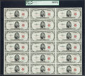 Small Size:Legal Tender Notes, Fr. 1532 $5 1953 Legal Tender Notes. Uncut Sheet of 18. PCGS Choice About New 58PPQ.. ...