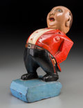 Decorative Arts, Continental:Other , An Art Deco Carved and Polychromed Wood Figure of a Bellhop, circa1930. 9-5/8 inches high (24.4 cm). Property from the Es...