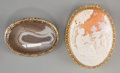 Estate Jewelry:Lots, Two Agate and Cameo Brooches. 2-3/8 inches high x 1-7/8 inches wide(6.0 x 4.8 cm) (larger, cameo). Property from the Esta... (Total: 2Items)