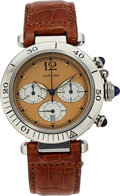 Estate Jewelry:Watches, Cartier Gentleman's Pasha Chronograph, Stainless Steel Watch. ...