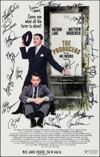 """The Producers (St. James Theatre, 2001). Autographed Theatrical Window Card (14"""" X 22""""). Comedy"""