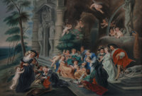 A KPM Porcelain Plaque in Carved Giltwood Frame, After Peter Paul Rubens, The Garden of Love, B
